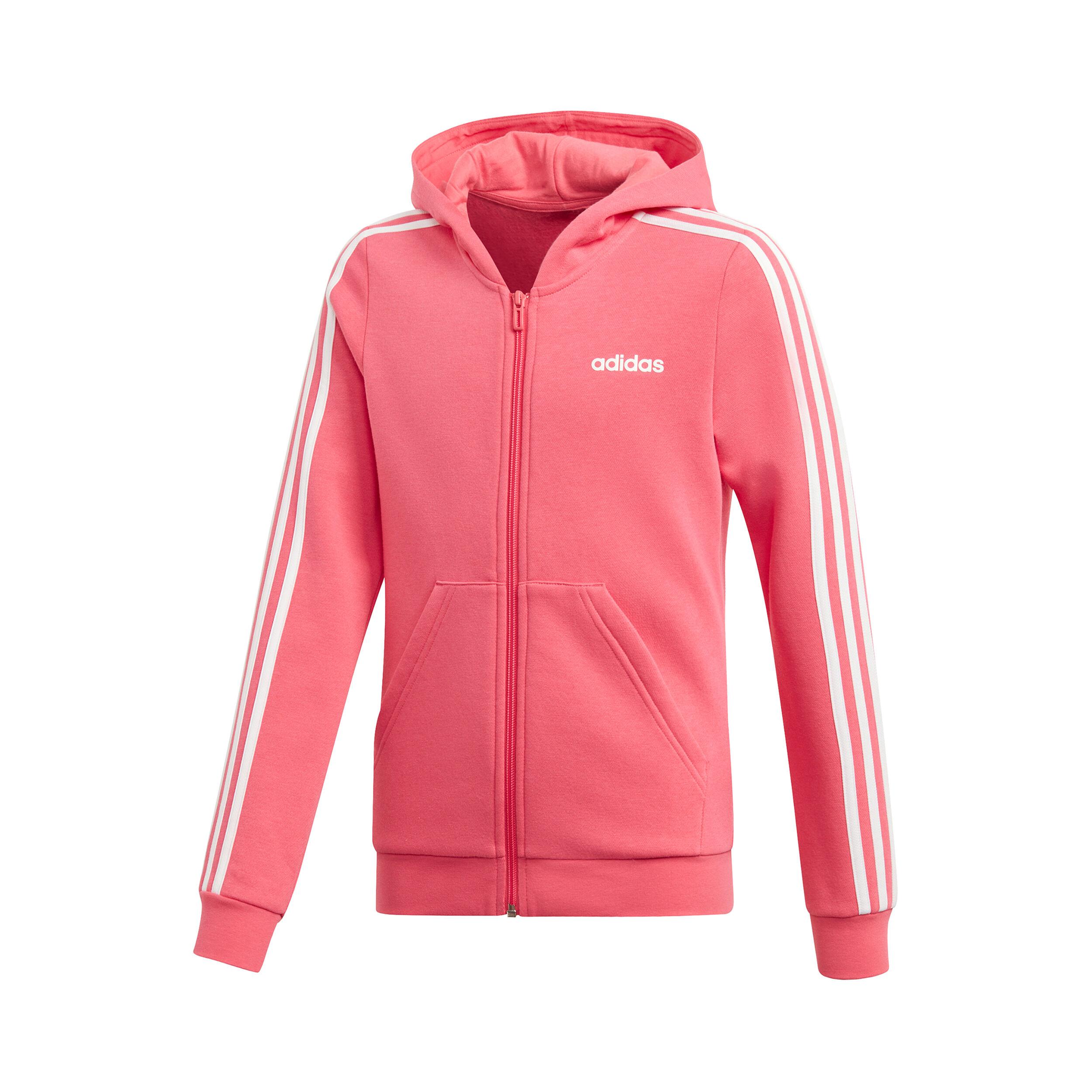 adidas Essentials 3 Stripes Full Zip Sweatjacke Mädchen Pink, Weiß