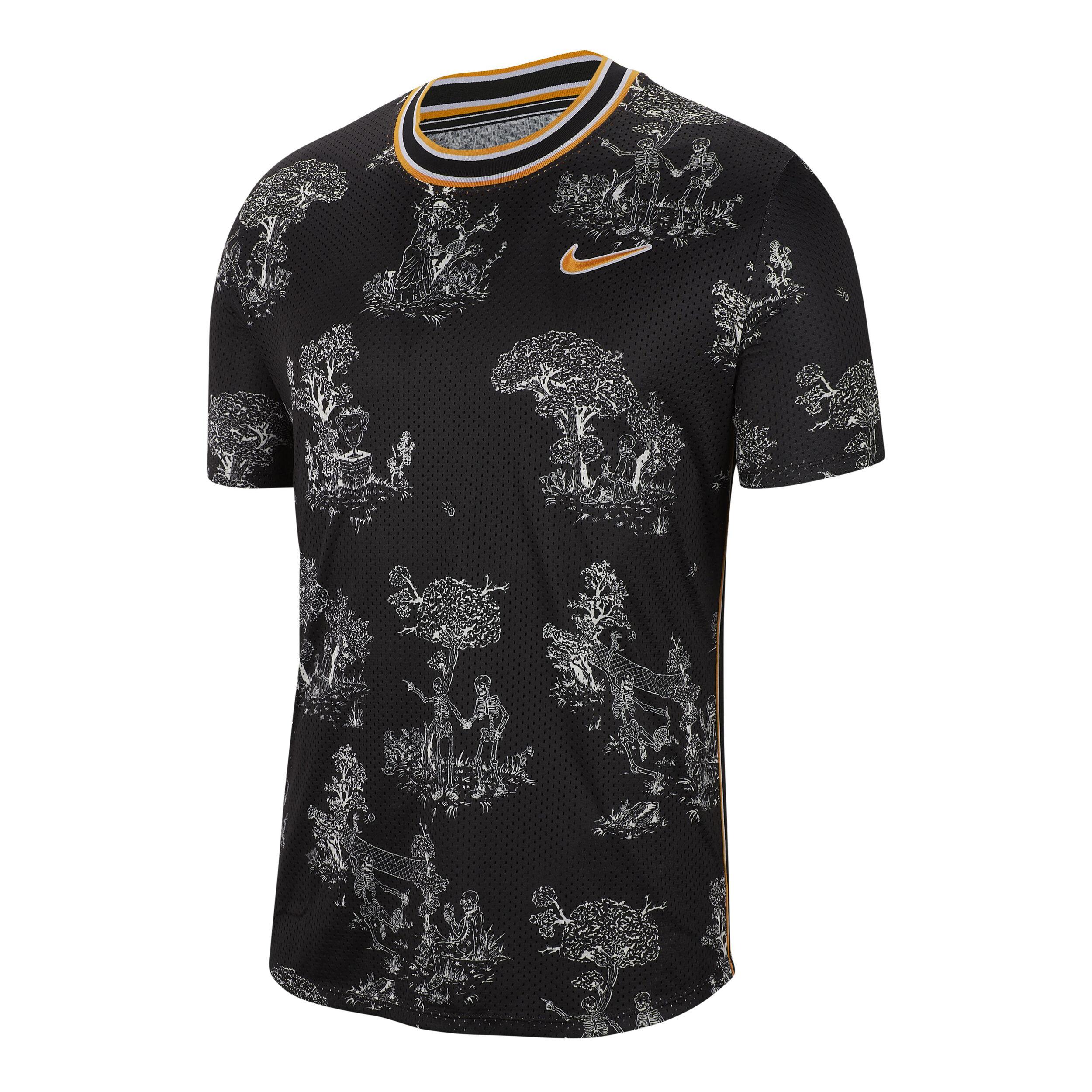 Nike Court Challenger Dri Fit T Shirt Herren Schwarz, Weiß